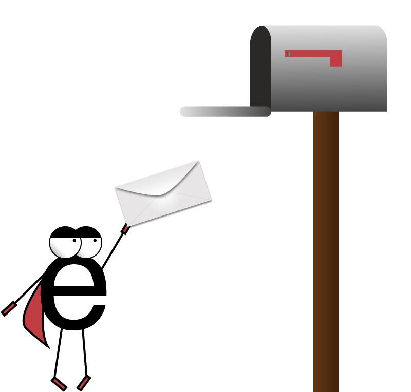 Superhero e trying to mail a letter